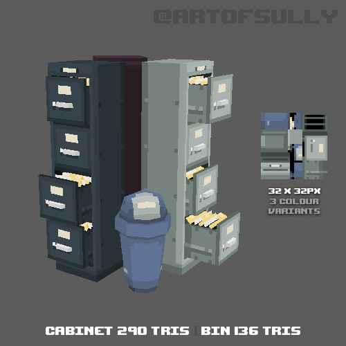 3D Pixel-Art Filing Cabinets and Bin (Commission)