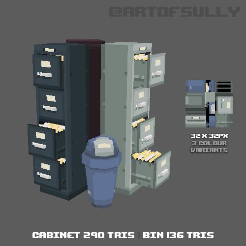 3D Pixel-Art Filing Cabinets and Bin (Commission)