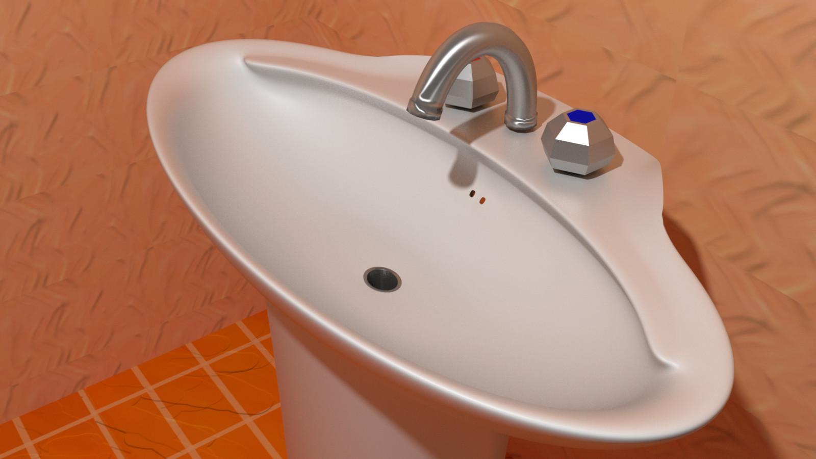 3D Wash Basin, top view