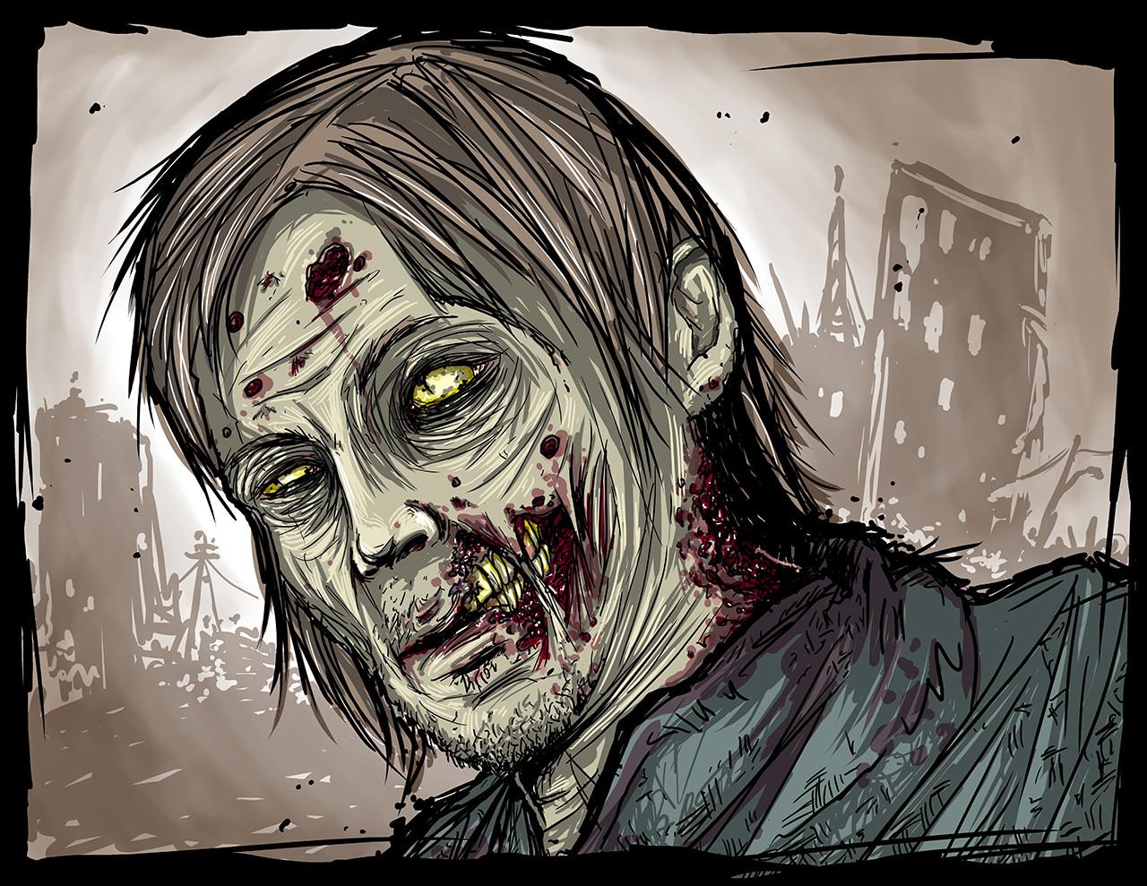 Mike johnston ruinedworld zombieportrait normanreedus