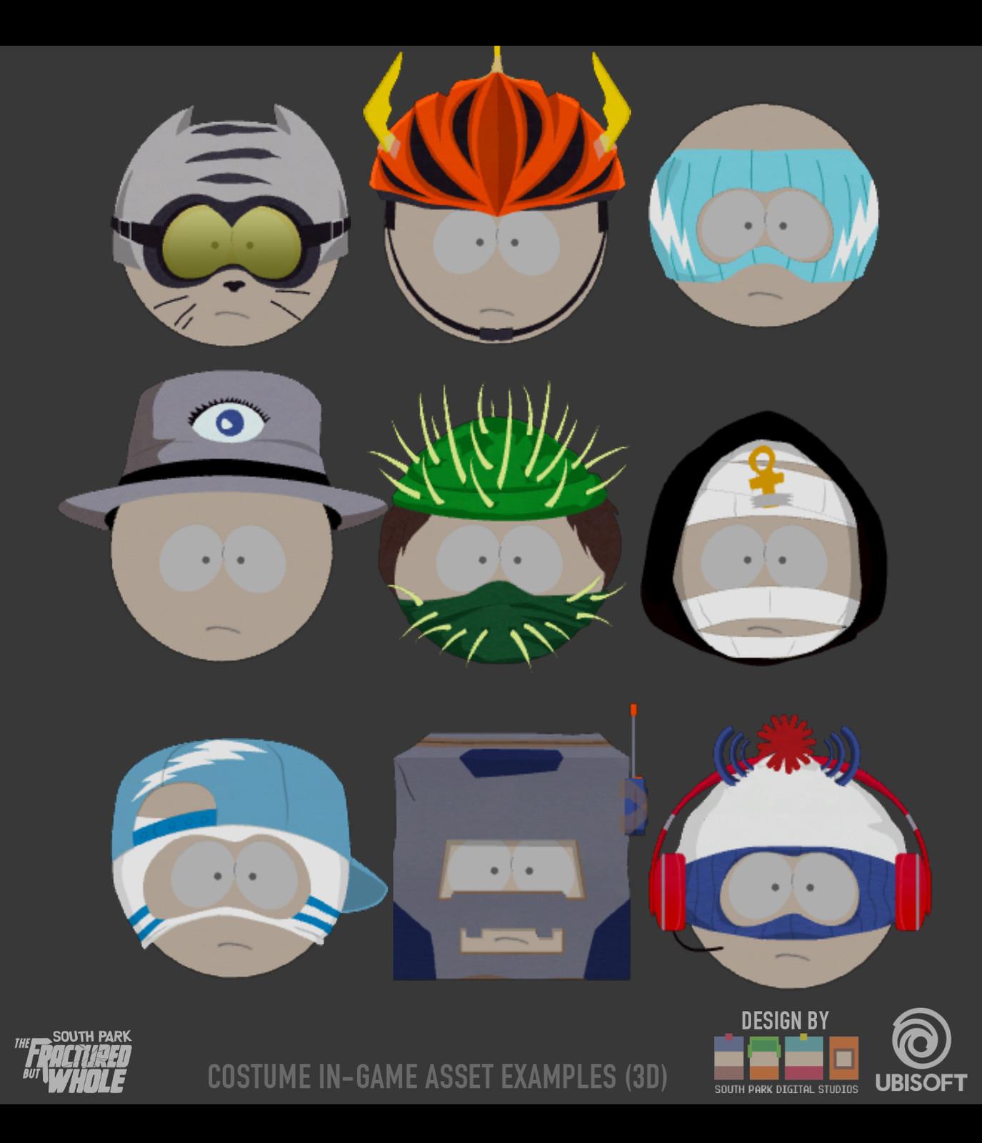Selection of Head Gear made in Maya - Original Designs by South Park Digital Studios