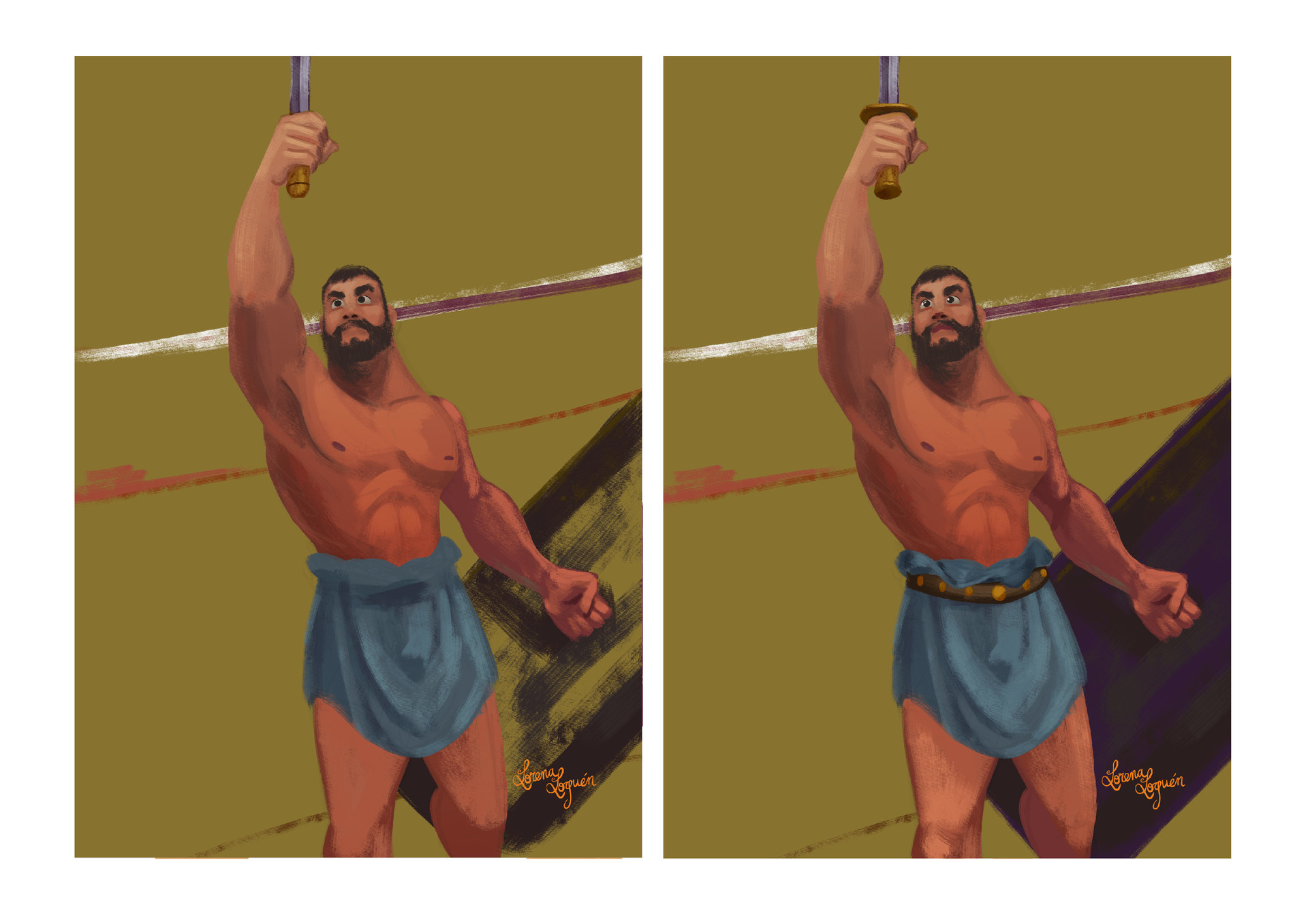 ...and muscles, and the skin tone of a gladiator had to be very dark. I used a gradient layer to make the lower part darker, this part was also meant to work less because my main focus was the face/torso/hand of the sword.