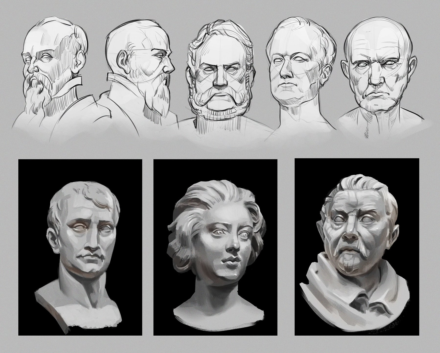 Sketching and painting busts. Actually removing all the colour information helped me focus on getting the planes looking right and making the shapes work together well.