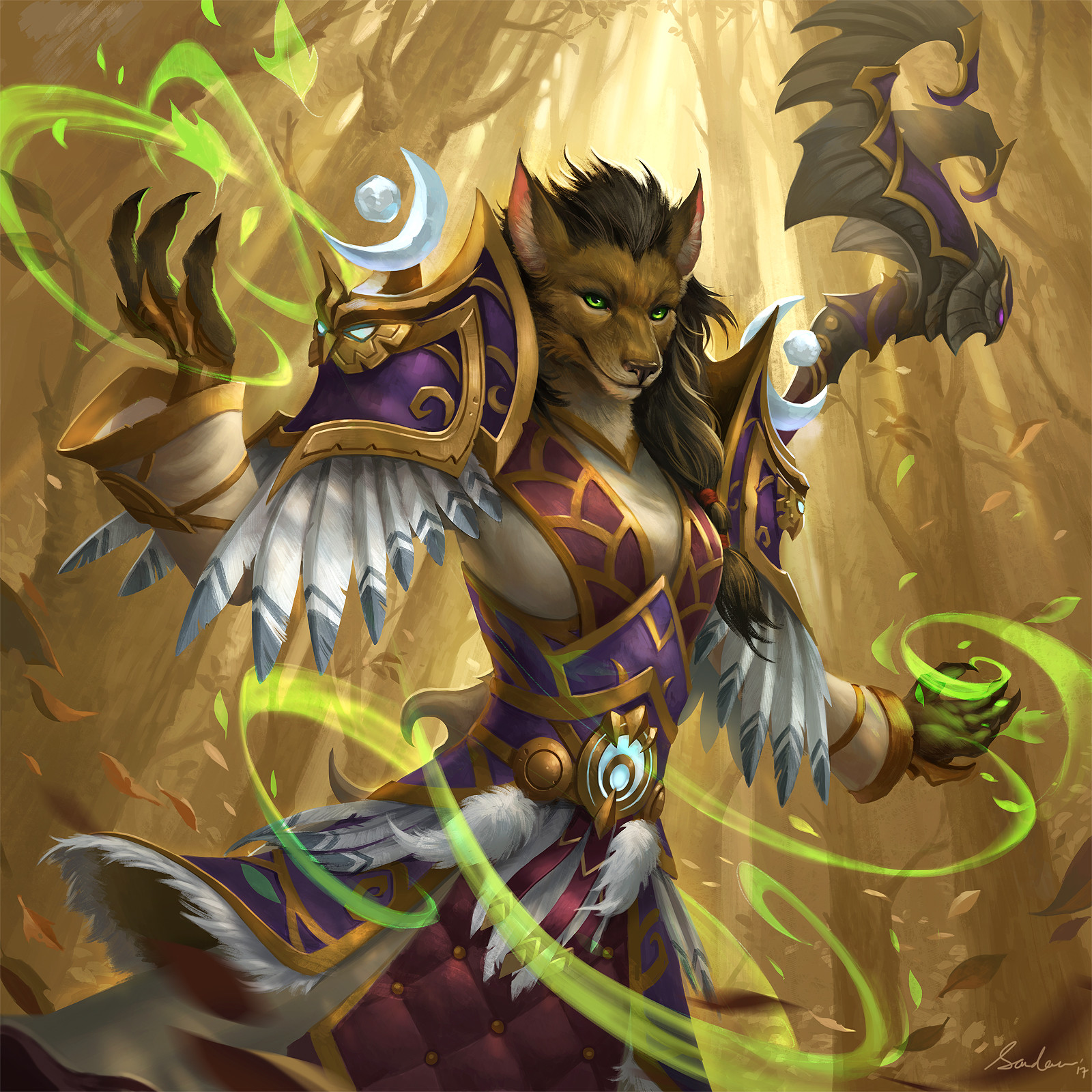 Female Worgen Druid art : wow