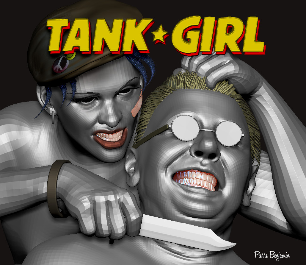 Tank Girl world war 3D sculpt based upon Ben Oliver original 2D concept