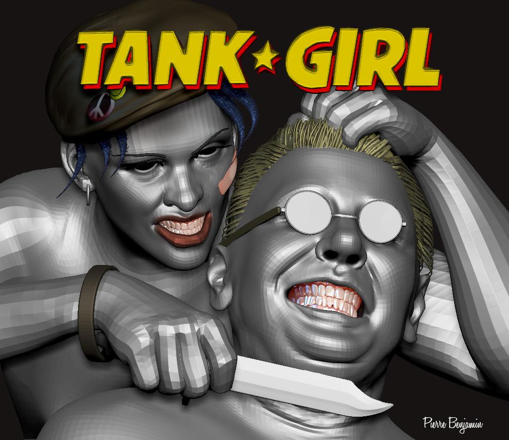 Tank Girl world war 3D sculpt based upon Ben Oliver original 2D concept