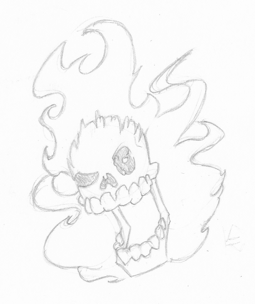 Karl Hanqing Kjellgren 24 Fire Skull 1 Pencil Drawing