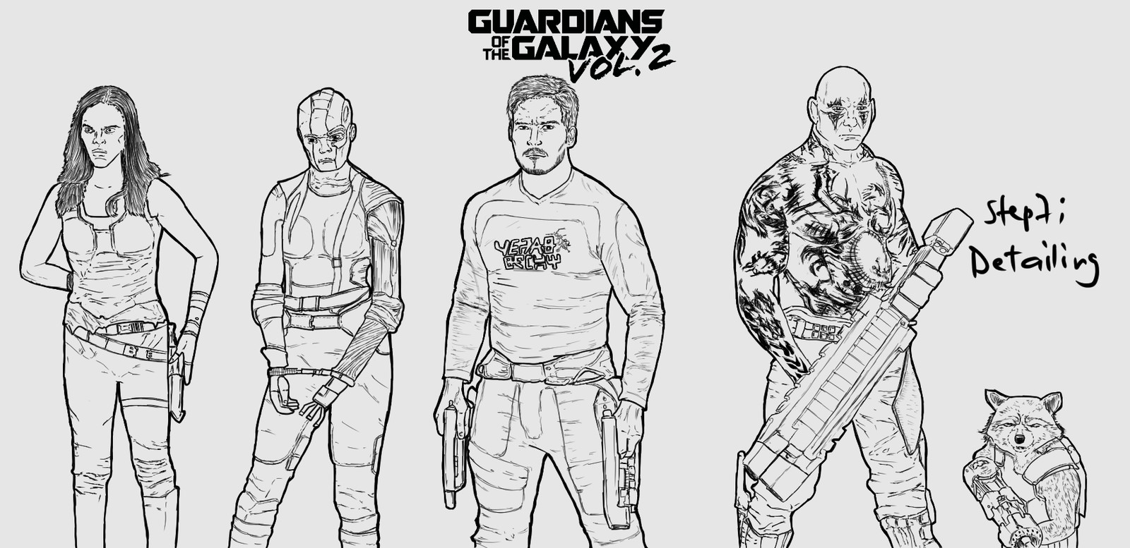 Backlog Daily Art Workout [Figure Drawing] (Day 264): Guardians of the Galaxy  Doubles as my #intktober day 24