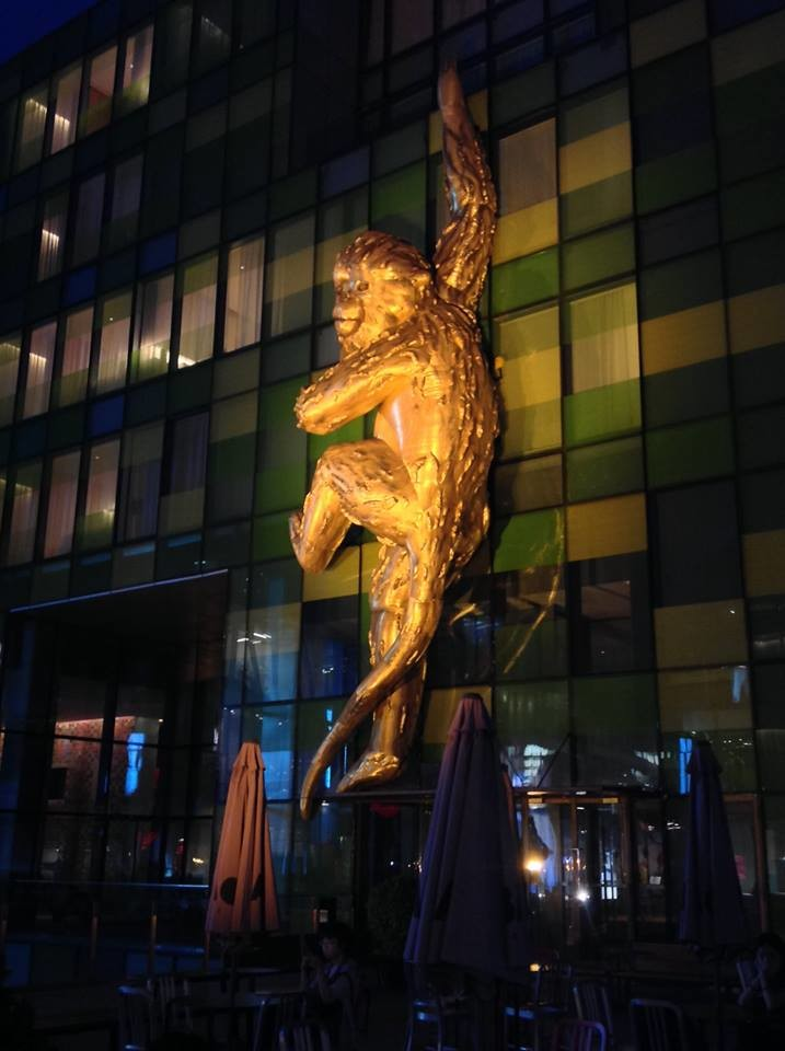 Golden Monkey inflatable by Lisa Roet and Airena