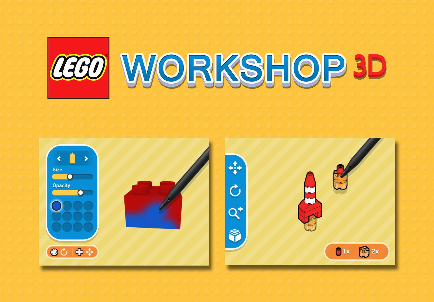 Lego Workshop 3D Gameplay & UI Mockup