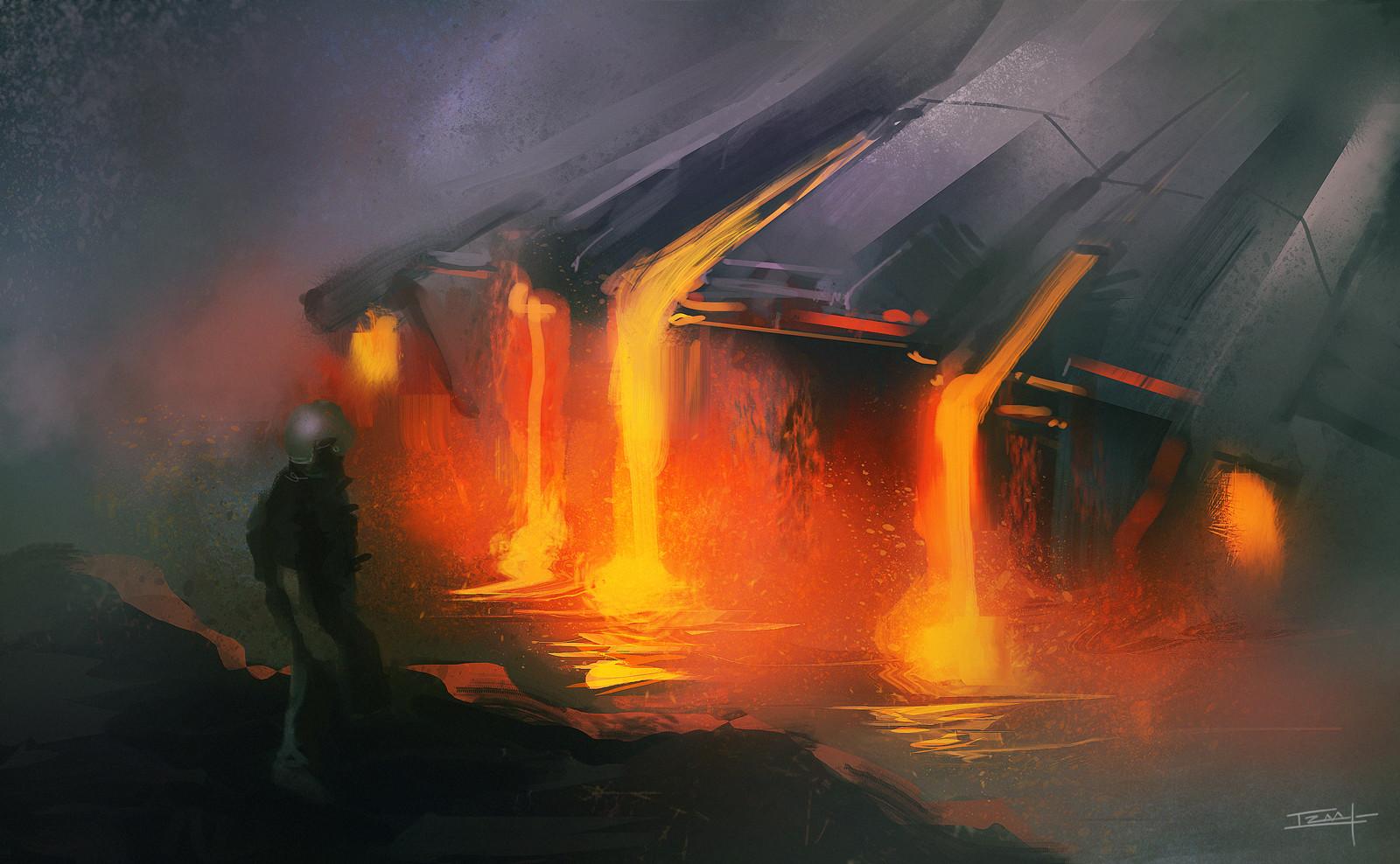 Izaak moody inside the volcano