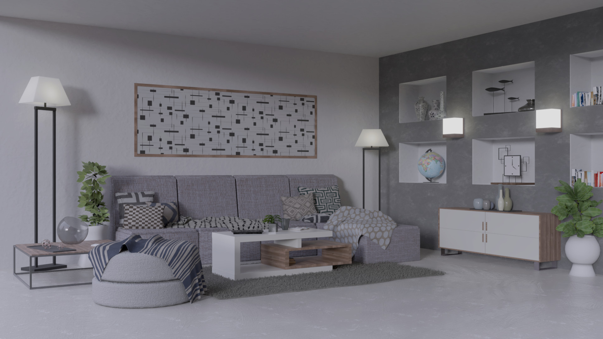 Artstation Greyscale And Wood Modern Living Room Andrea