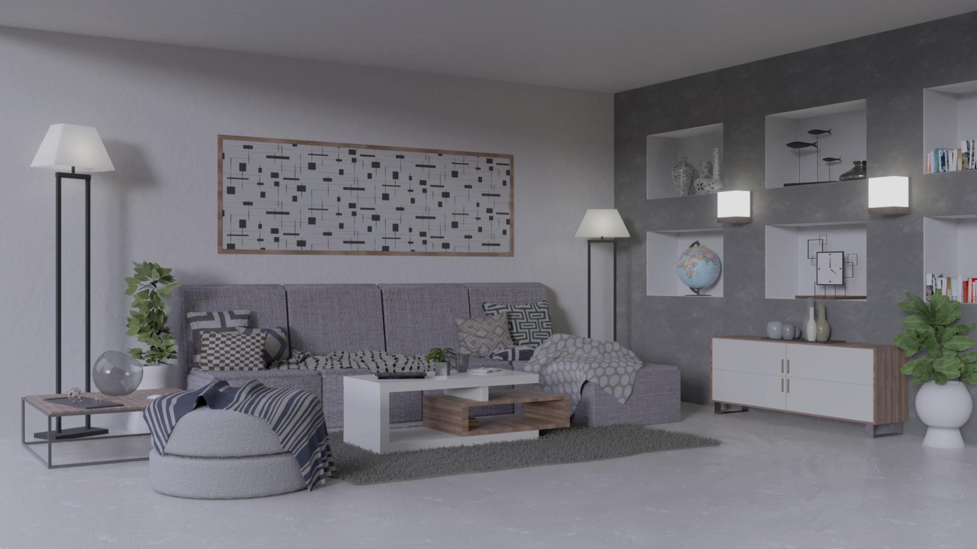 Artstation Greyscale And Wood Modern Living Room Andrea Bredice