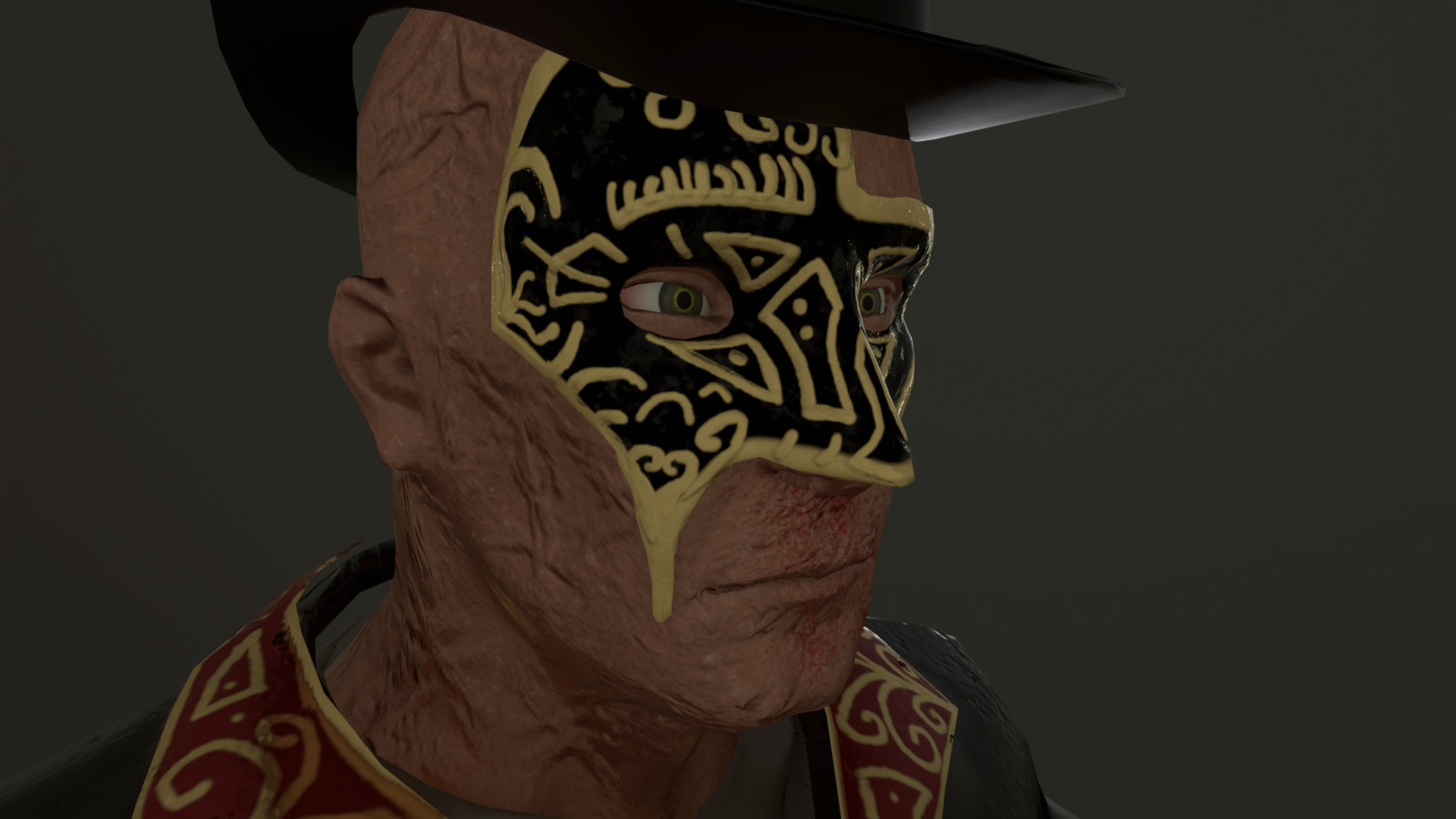 Face Detail & Masquerade Mask (Right Side)