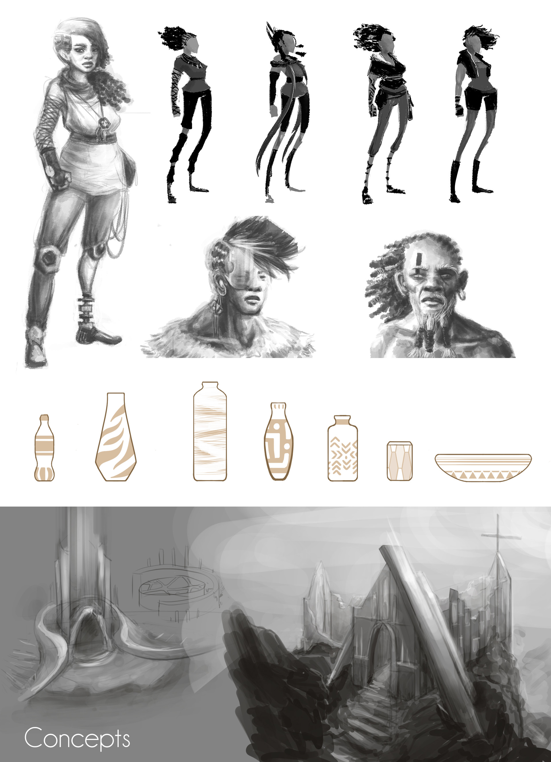 Concept arts for the main character, a female shaman who has survived the apocalypse but lost her arm, and another shaman and tribal people.