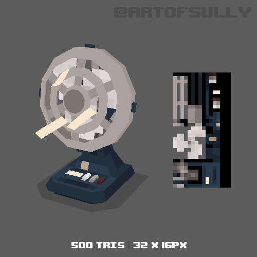 3D Pixel-Art Desk Fan (Commission)