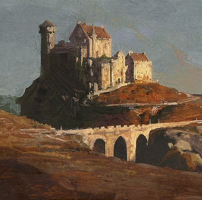 Greg rutkowski castle on hill 1920