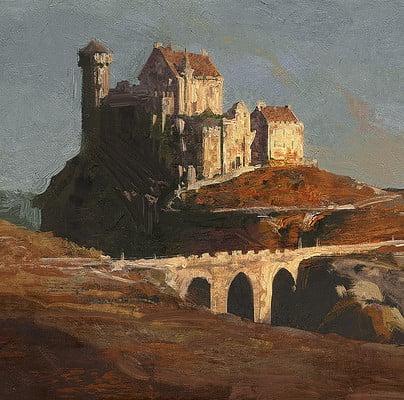 Greg rutkowski castle on hill 1920