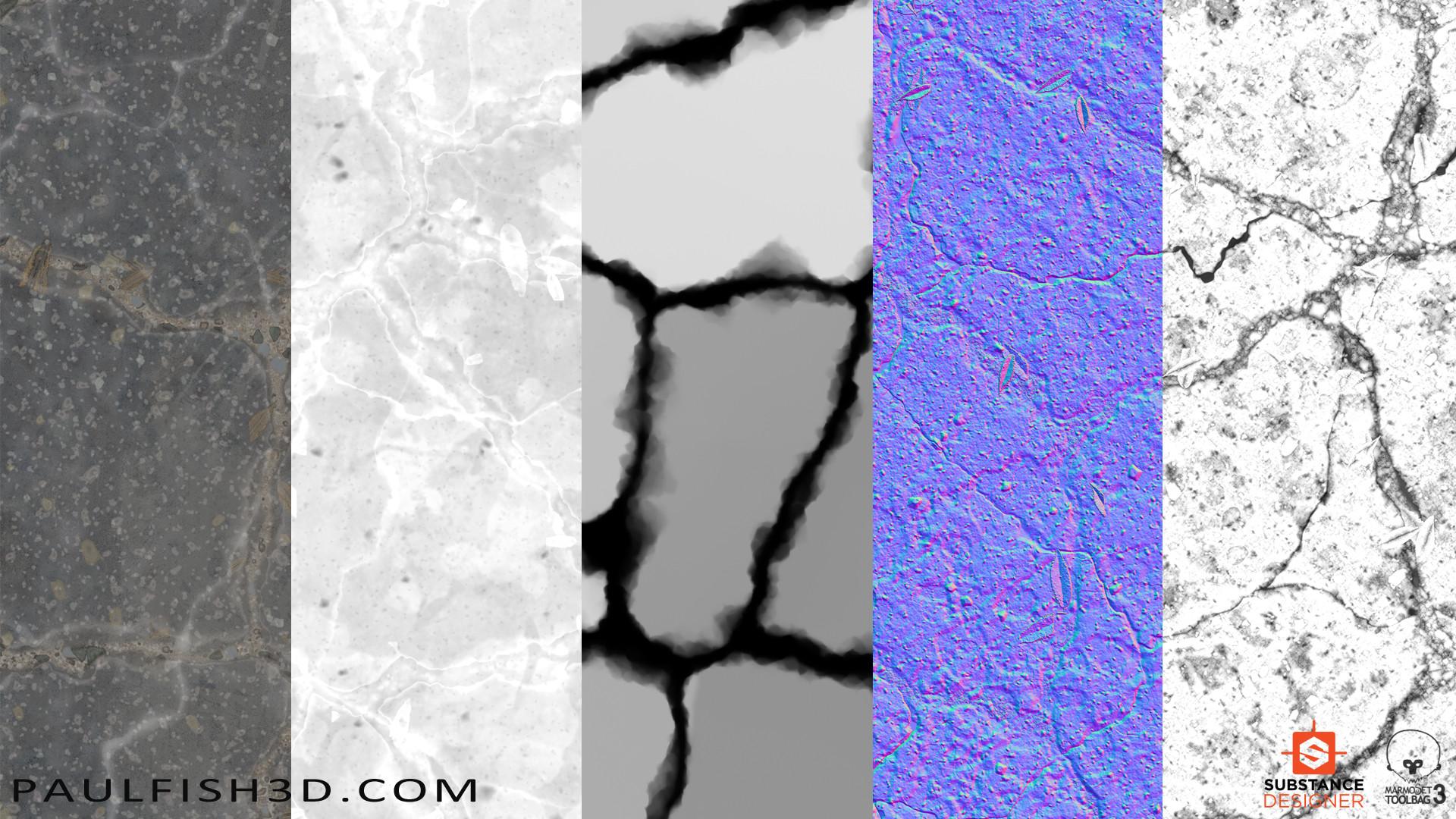 Paul fish ground asphalt old broken textures