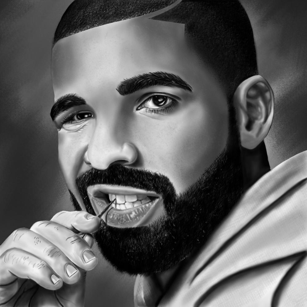 Drake portrait painting