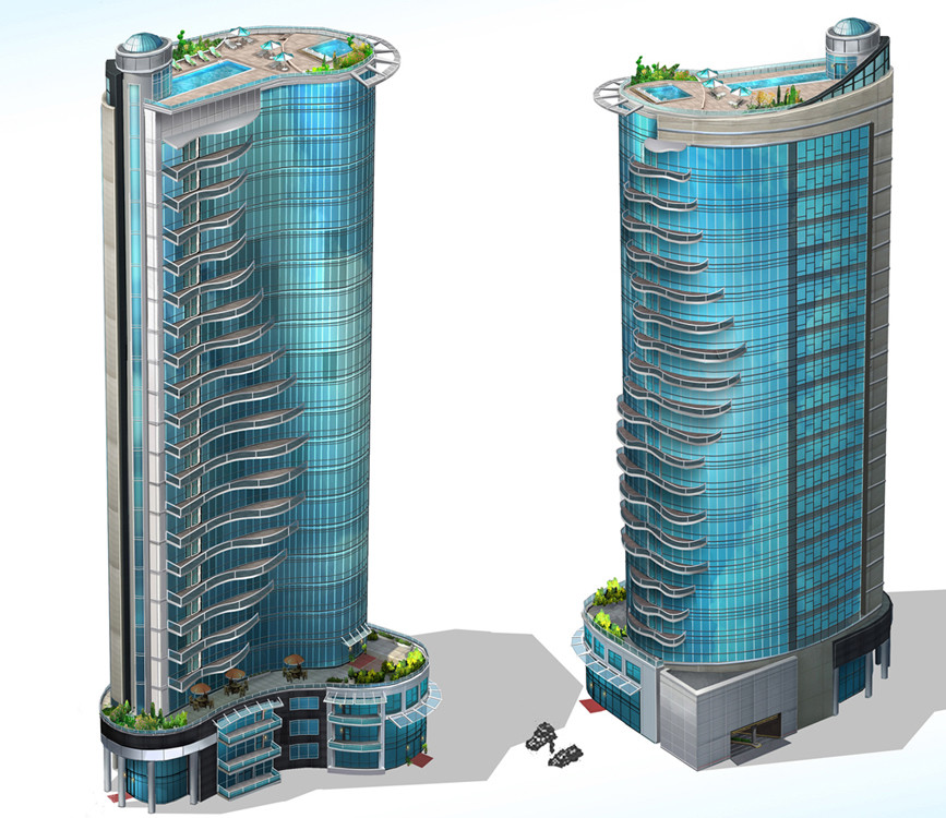 I provided art and design direction for this High- density, high- wealth residential building concept art by Sperasoft