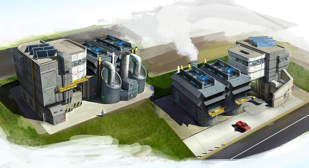 I provided art and design direction for this Low- density, high- wealth industrial building concept art by Sperasoft
