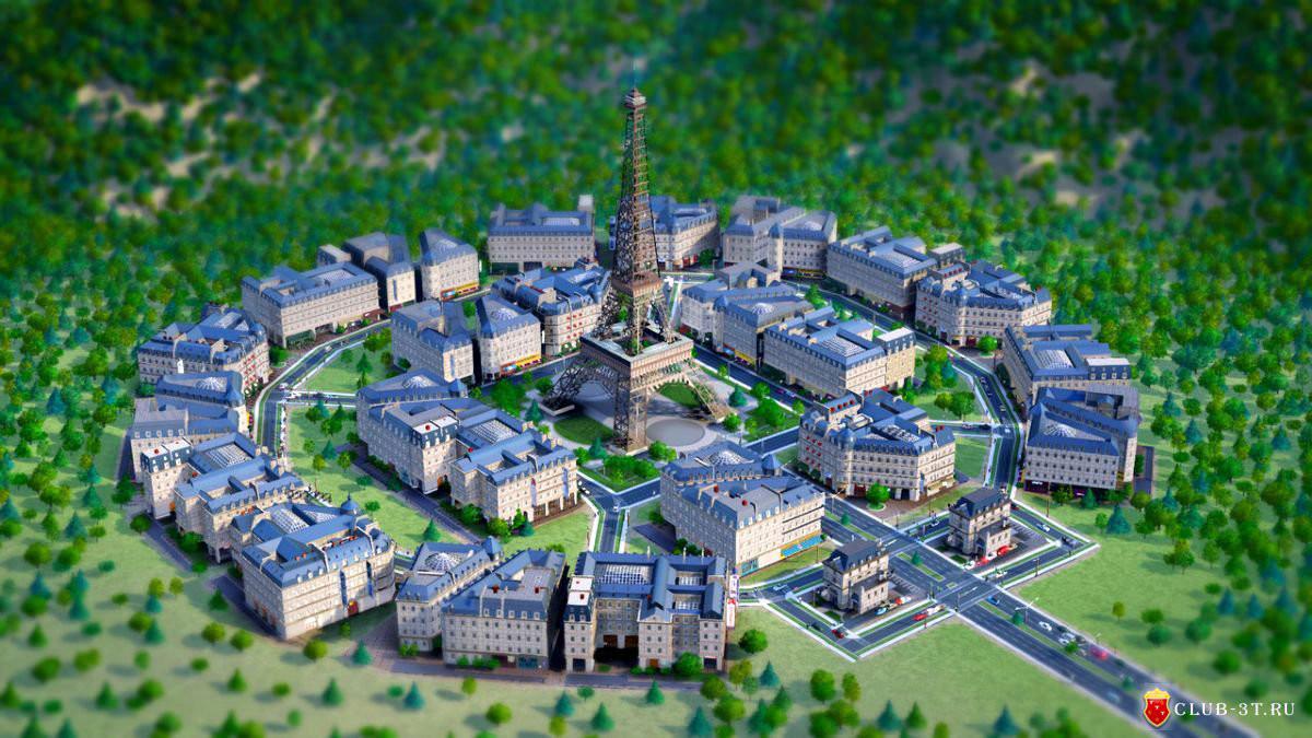 In- game screenshot of the Parisian City DLC buildings