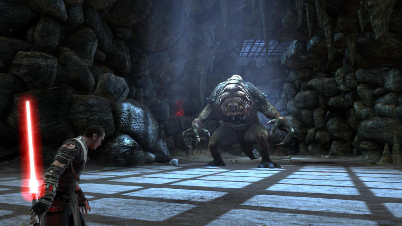 I designed, set dressed, created all the assets in, and lit this arena based on extensive research of the Rancor pit set from Return of the Jedi. I did not create the Rancor and player character models.