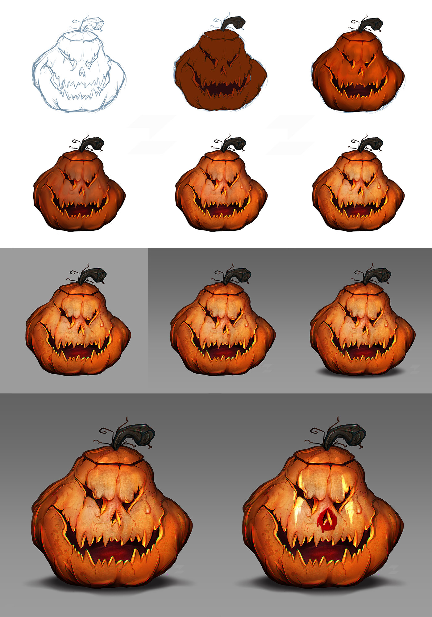 Scary halloween pumpkin - digital drawing