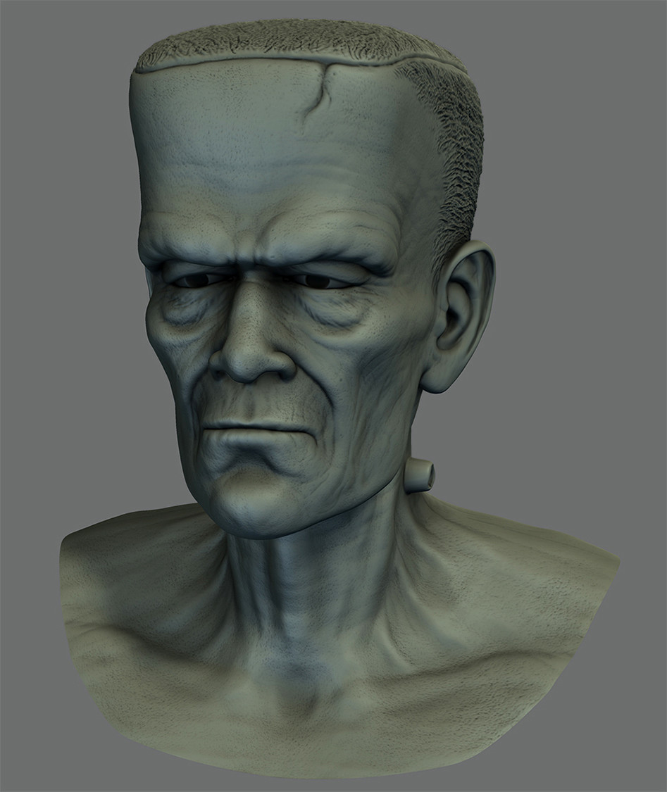 """Mudbox sculpt """"loosely"""" based on the Frankenstein Monster design, just in time for Halloween!"""