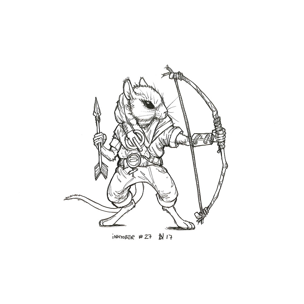 Inktober day 27. Mouse Archer.