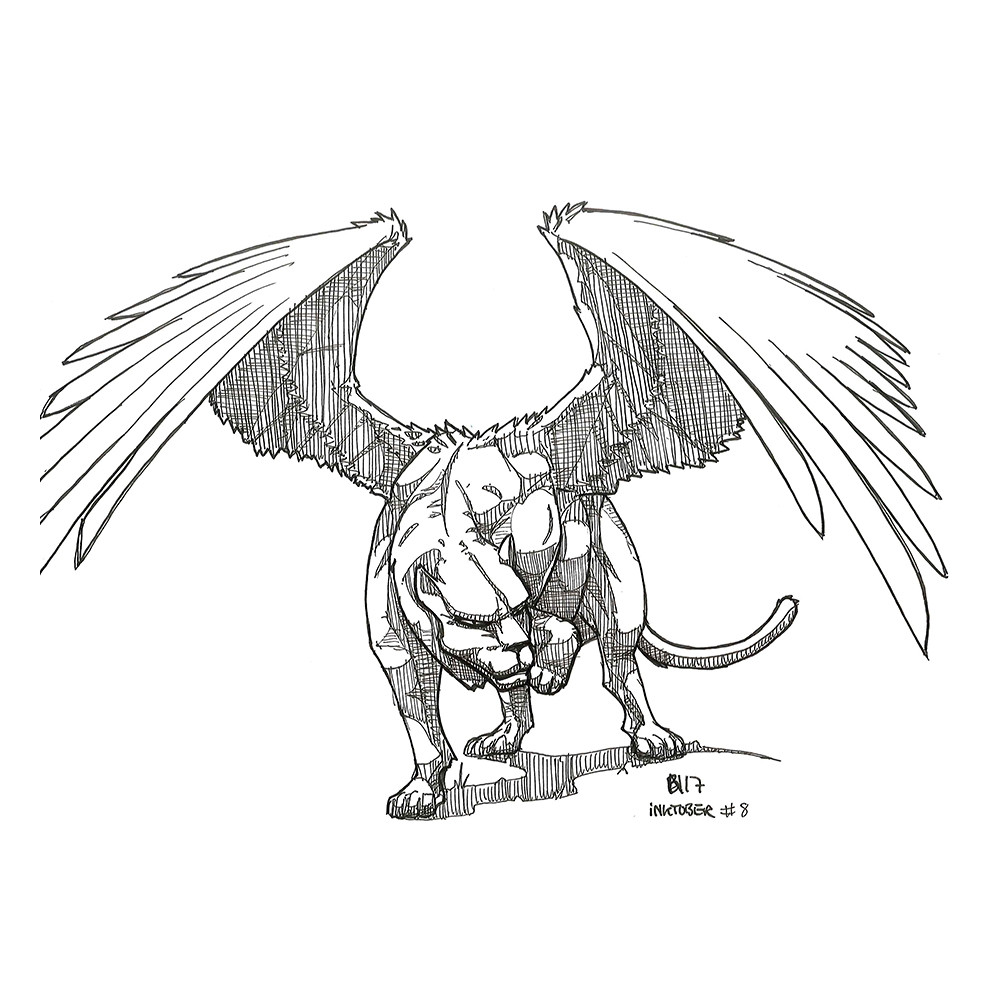 Inktober day 8. The mythical Panther Hawk.