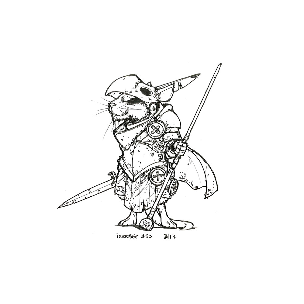 Inktober day 30. Mouser Knight of the Hawk.