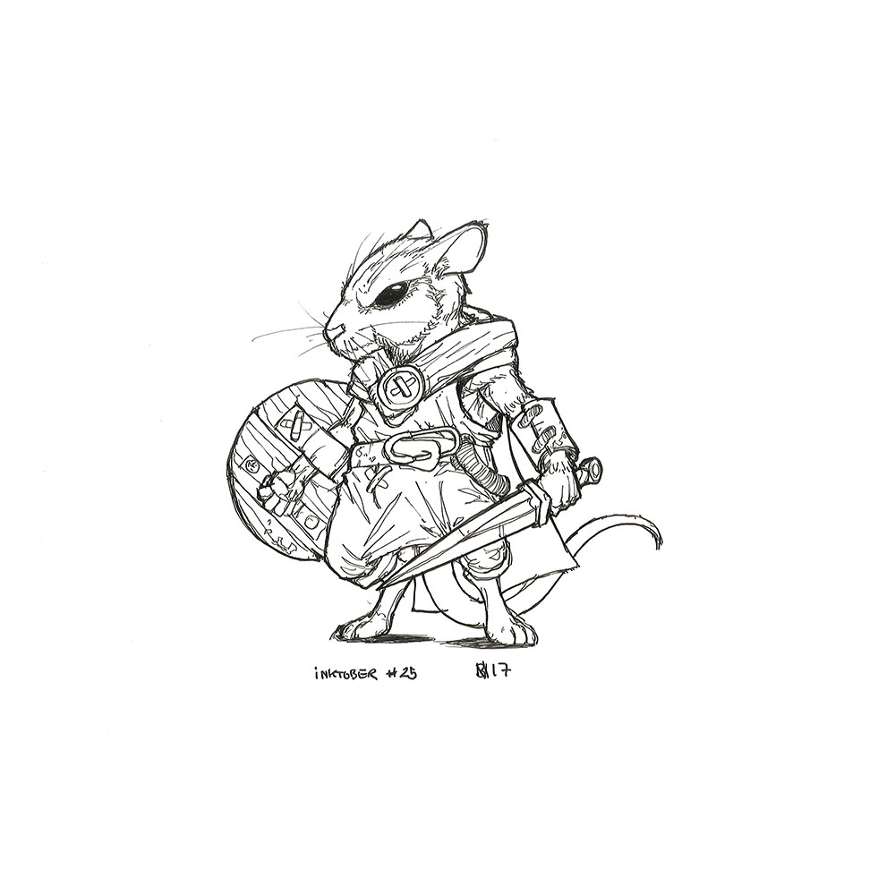 Inktober day 25. Mouse Warrior.