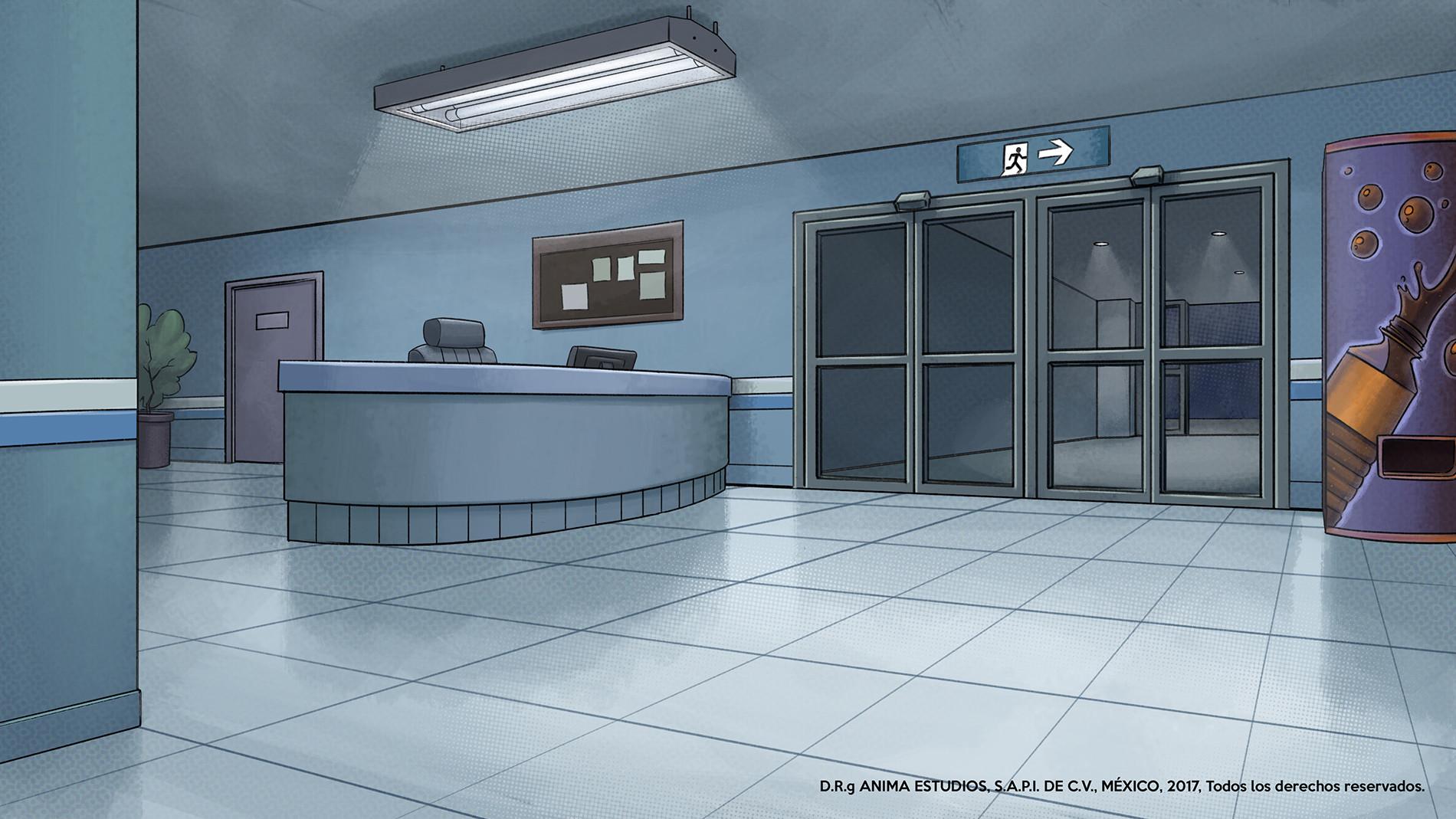 The hospital lobby.