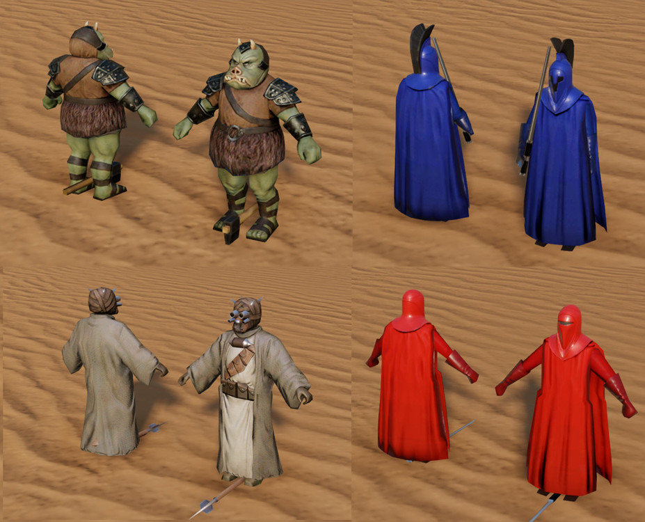 I provided art direction for these troop characters for a sci- fi PC city builder prototype. I provided asset integration into engine and final PBR texture tuning.