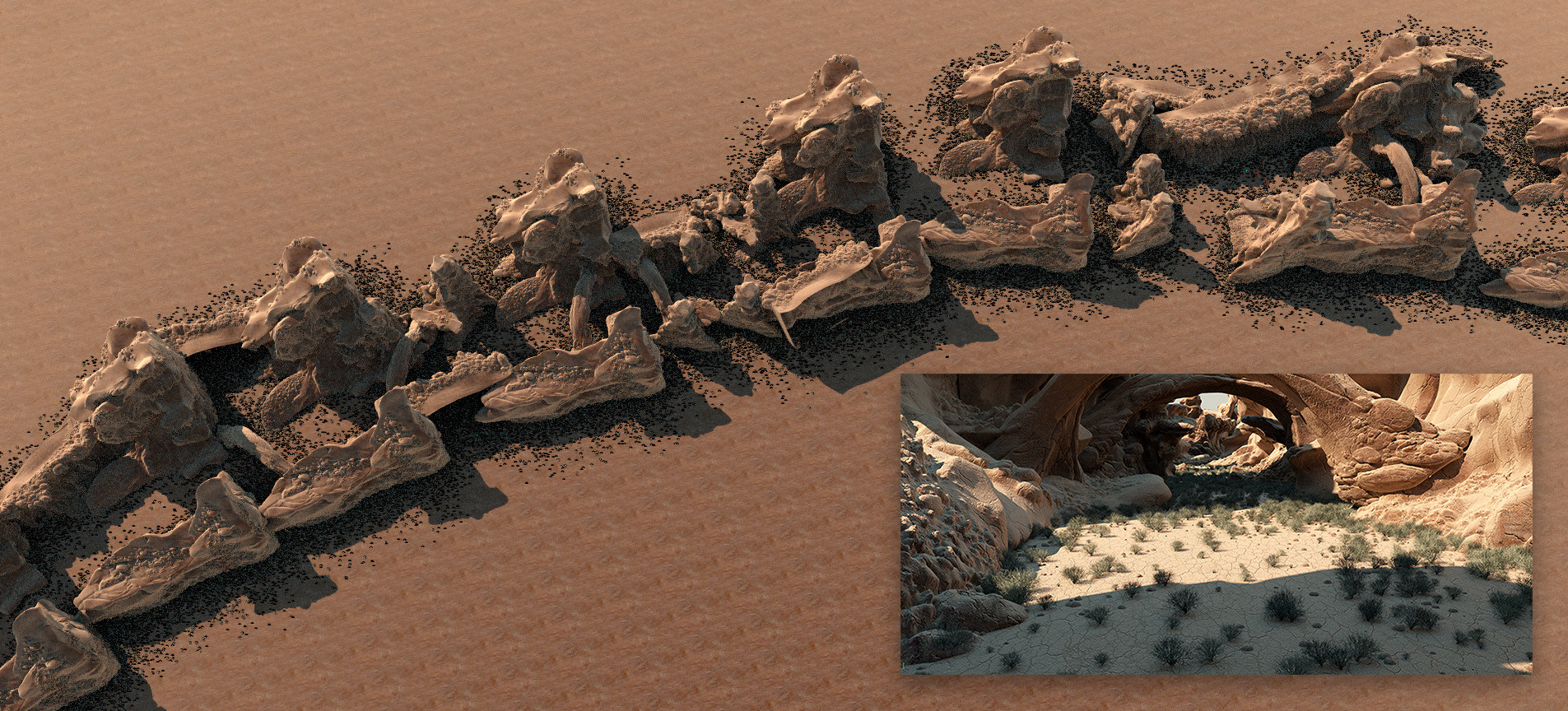 Top view of the canyon. Plants are scattered automatically using an occlusion based particle system.