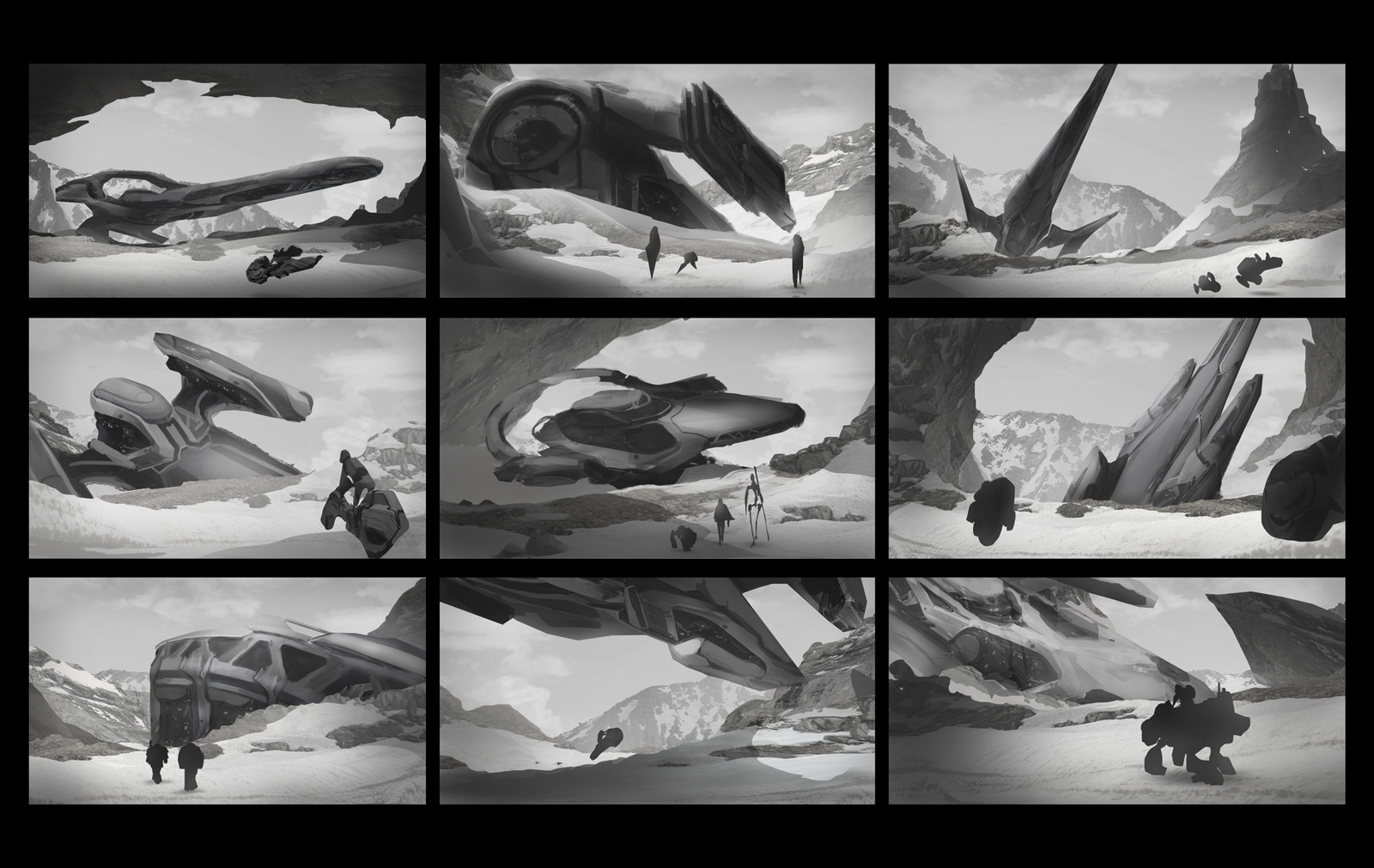Composition and story sketches.