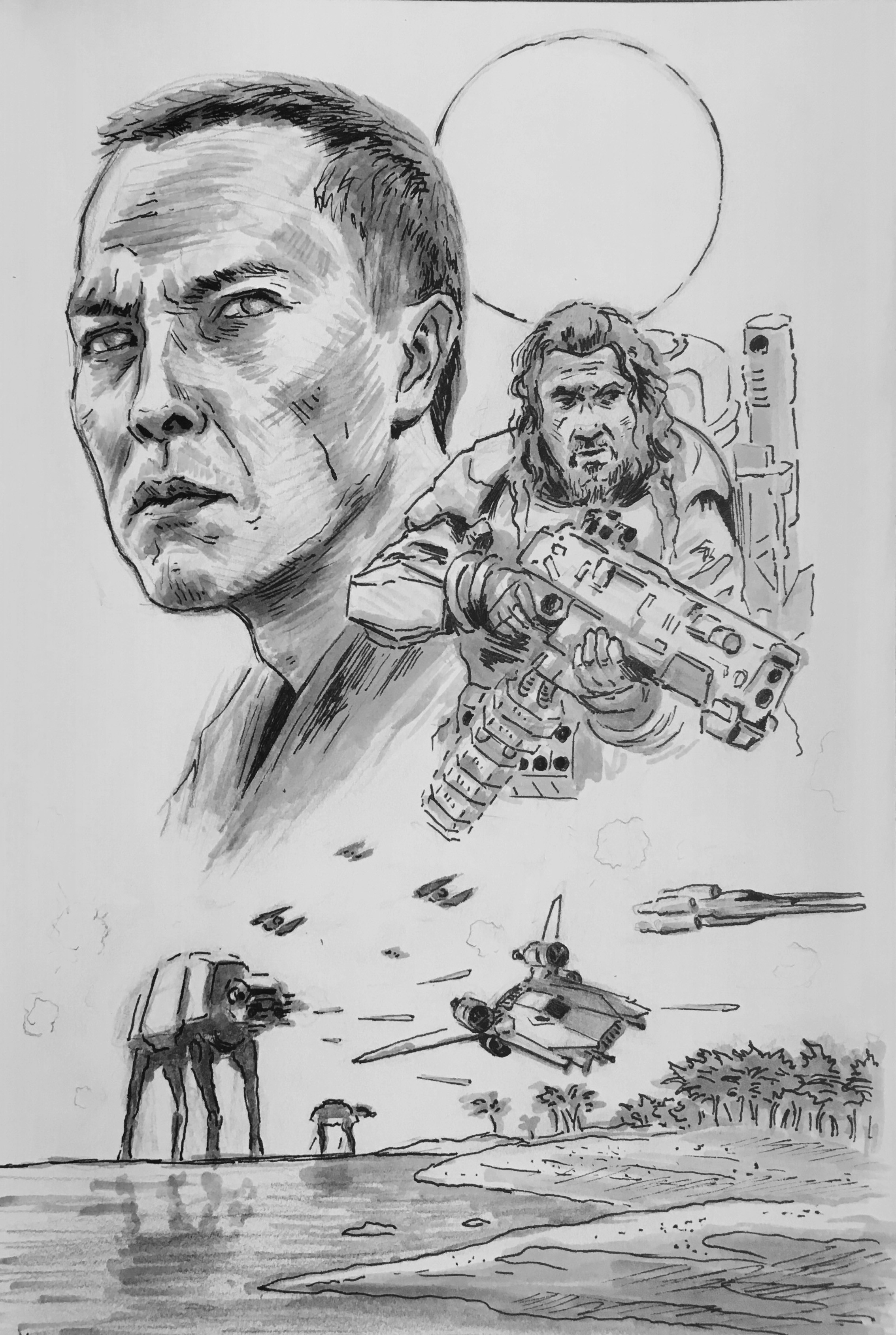 Chirrut, Baze, and the battle of Scarif. Prismacolor markers and ink. Convention commission.