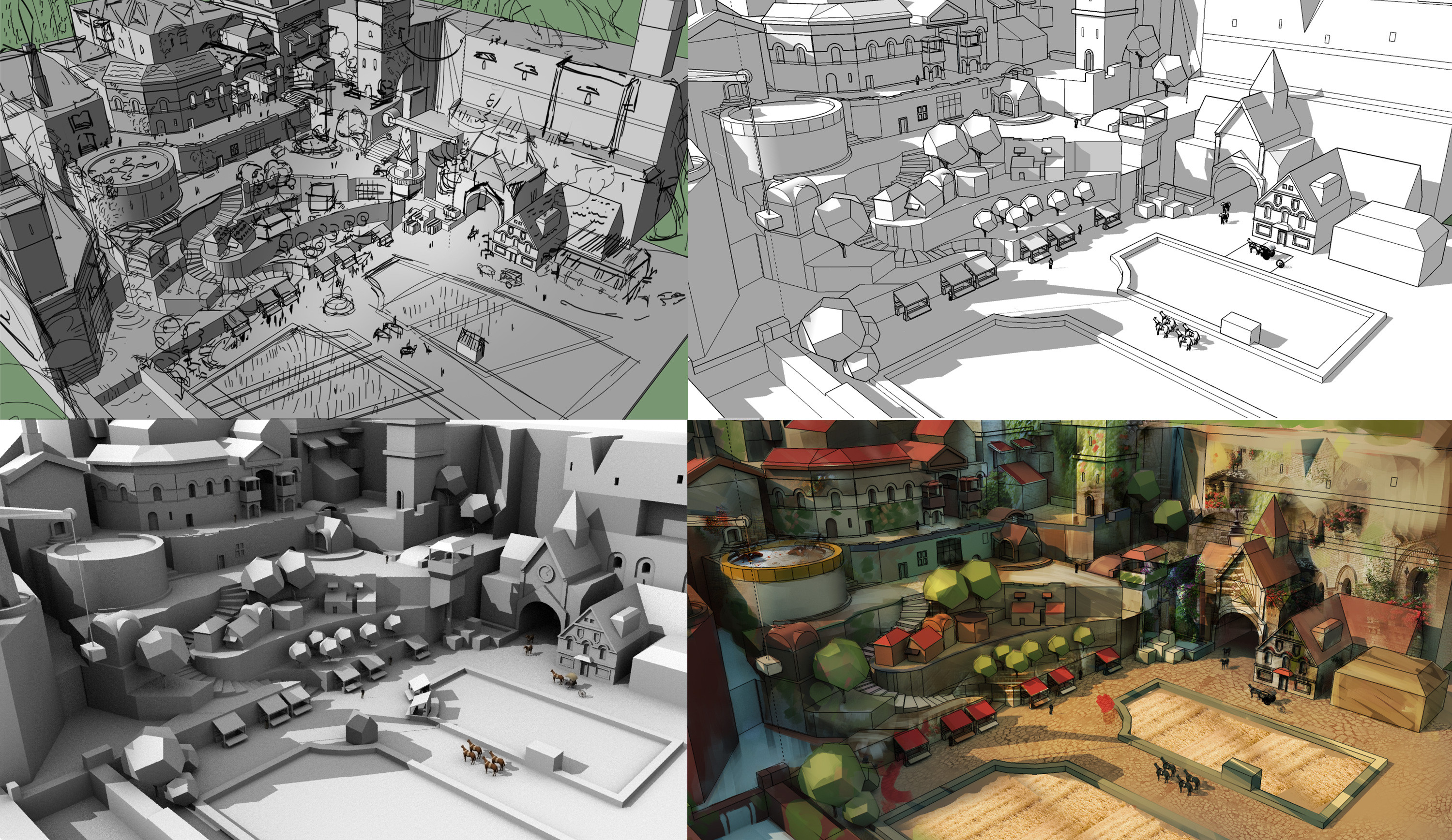 Building blocks. Using sketchup to make a model, seeing what might work for the picture and early development. I then used different renders such as ambient, shadow and separate lines to get the blocks shaded. This saved a lot of time.