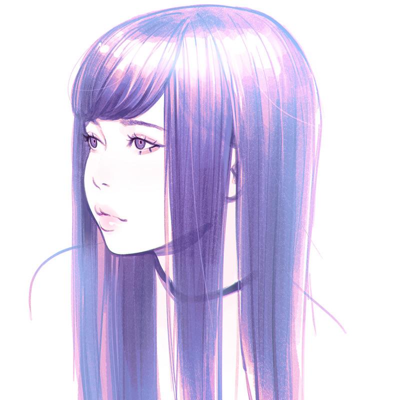 Ilya Kuvshinov Longer Black Anime Girl Drawing