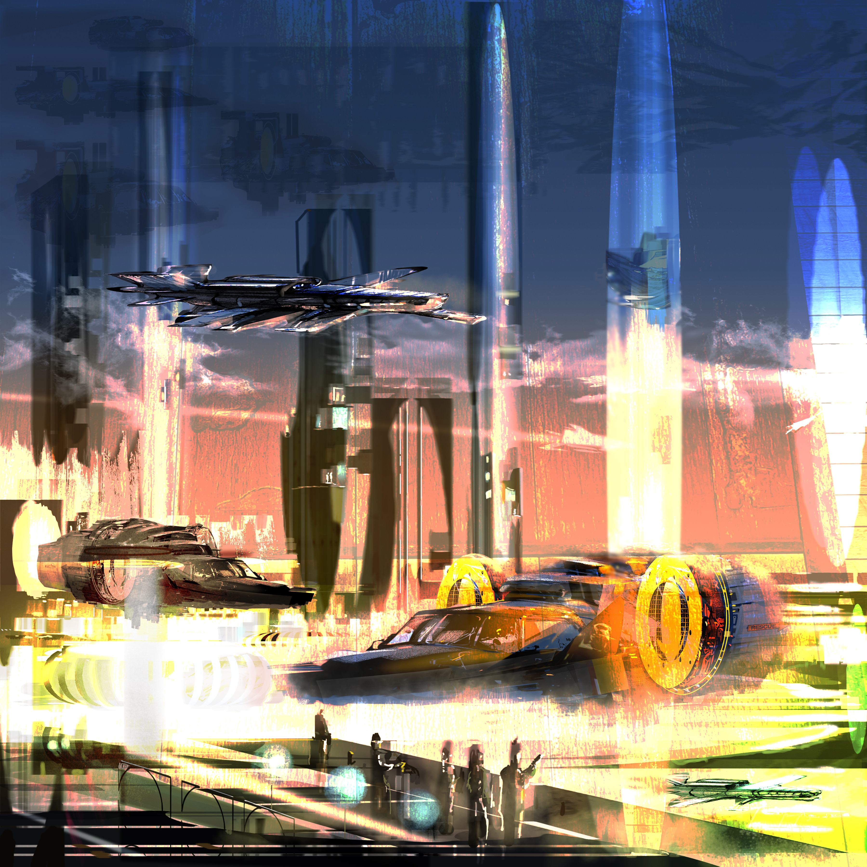 quick paint sketch for sci-fi scene.