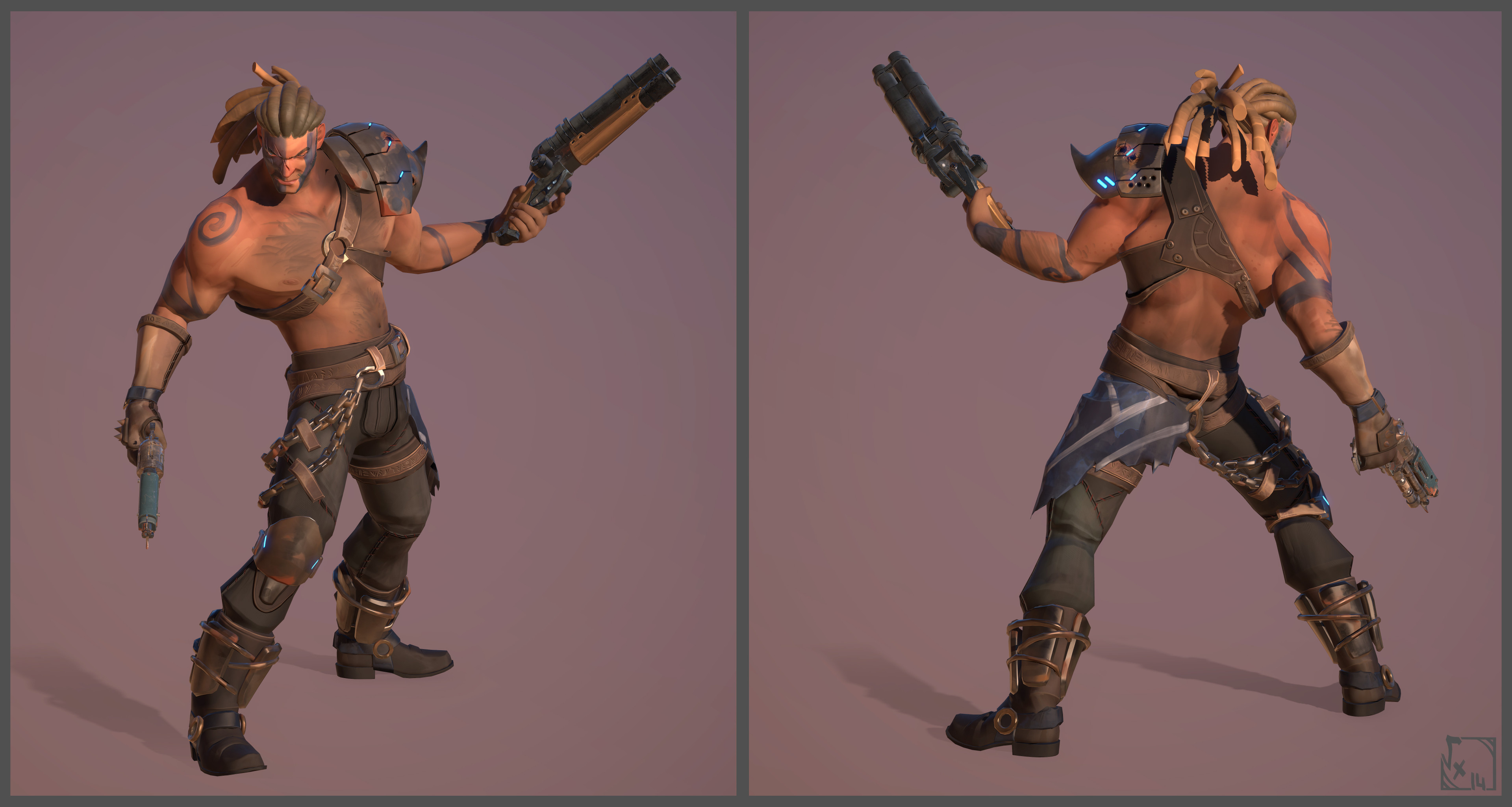 BraveDude - Barbarian - Made with Maya/ZBrush/xNormals/3DCoat/Akeytsu by Coralie Bruchon ( Sculpt/Lowpoly/Uvs/Bake ) Anthony Daneluzzi ( Weapon Modeling/Texturing ) & me ( Textures/Rig/Posing )