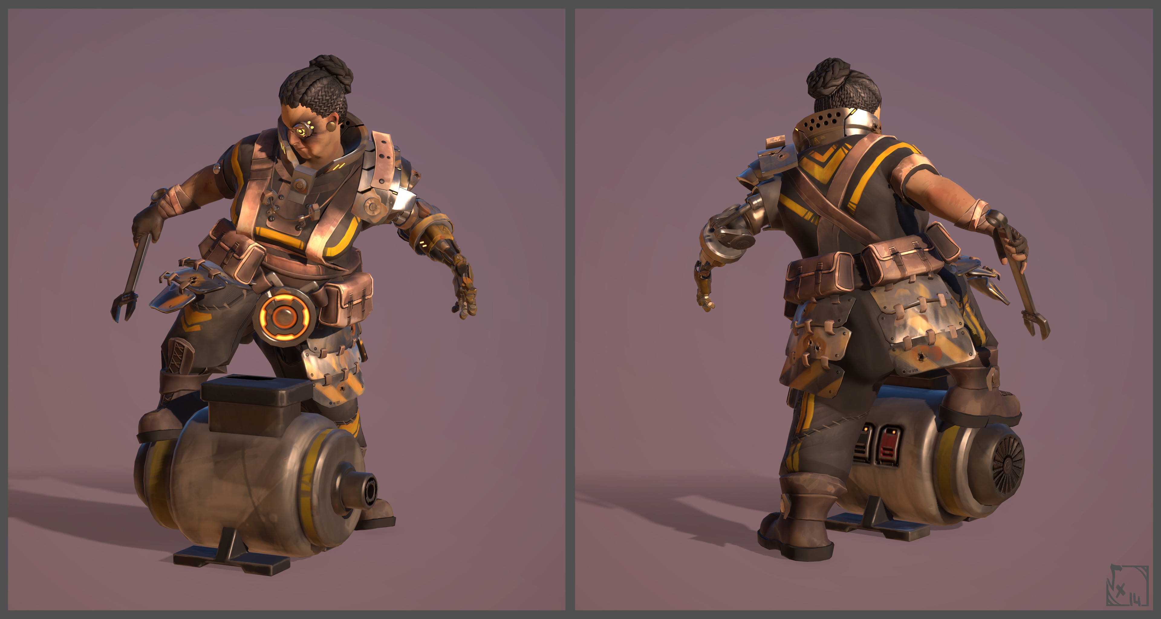 Klarell - Engineer - Made with Maya/ZBrush/xNormals/3DCoat/Akeytsu by Coralie Bruchon ( Sculpt/Lowpoly/Uvs/Bake ) & me ( Textures/Rig/Posing/Props )