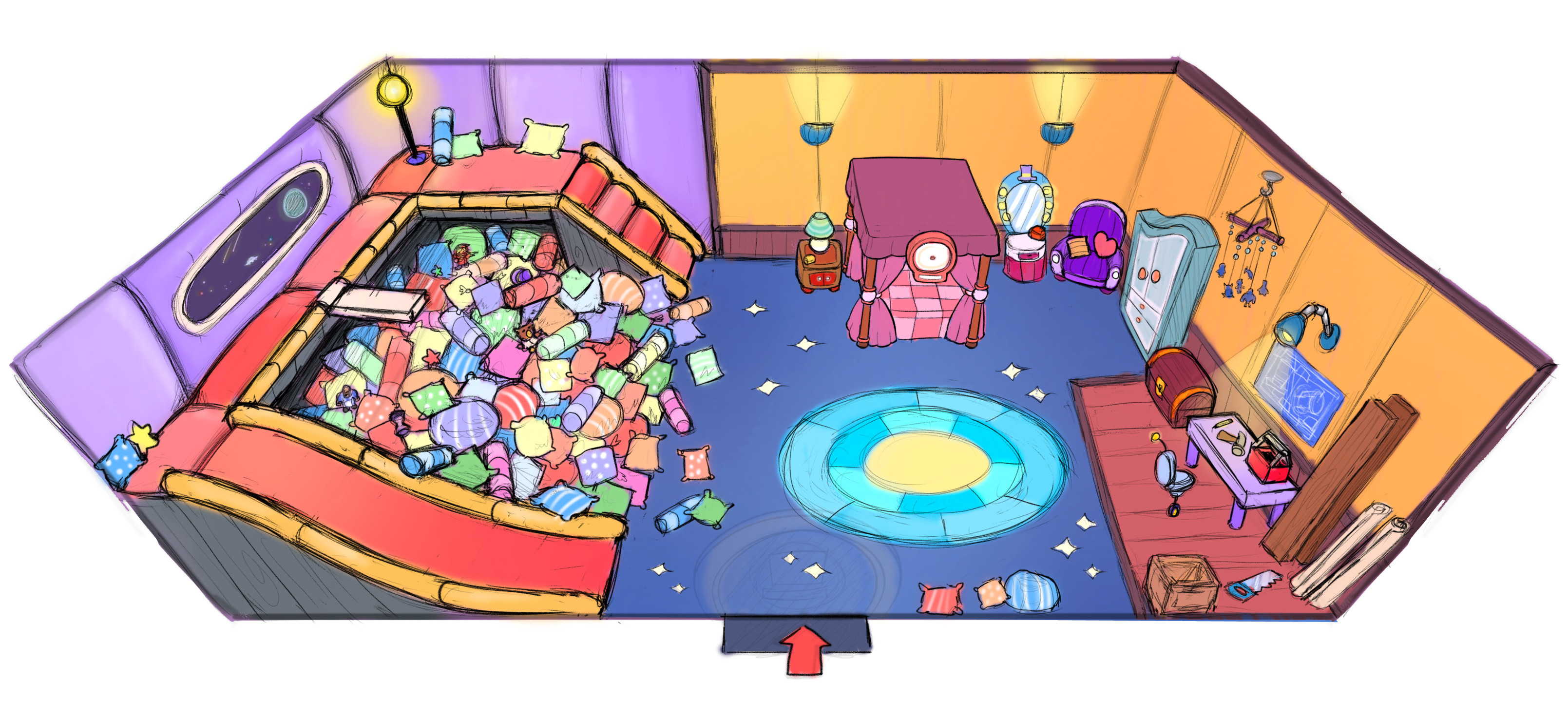 Hat Kid's Spaceship - Bedroom
