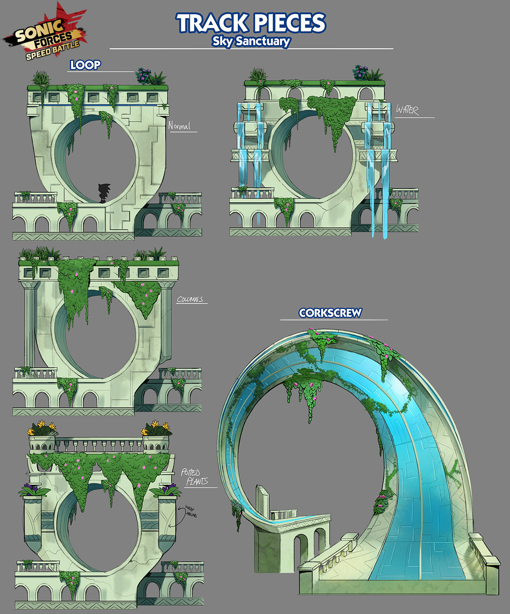Sky Sanctuary Track Loop Concepts for Sonic Forces: Speed Battle, Copyright SEGA 2017