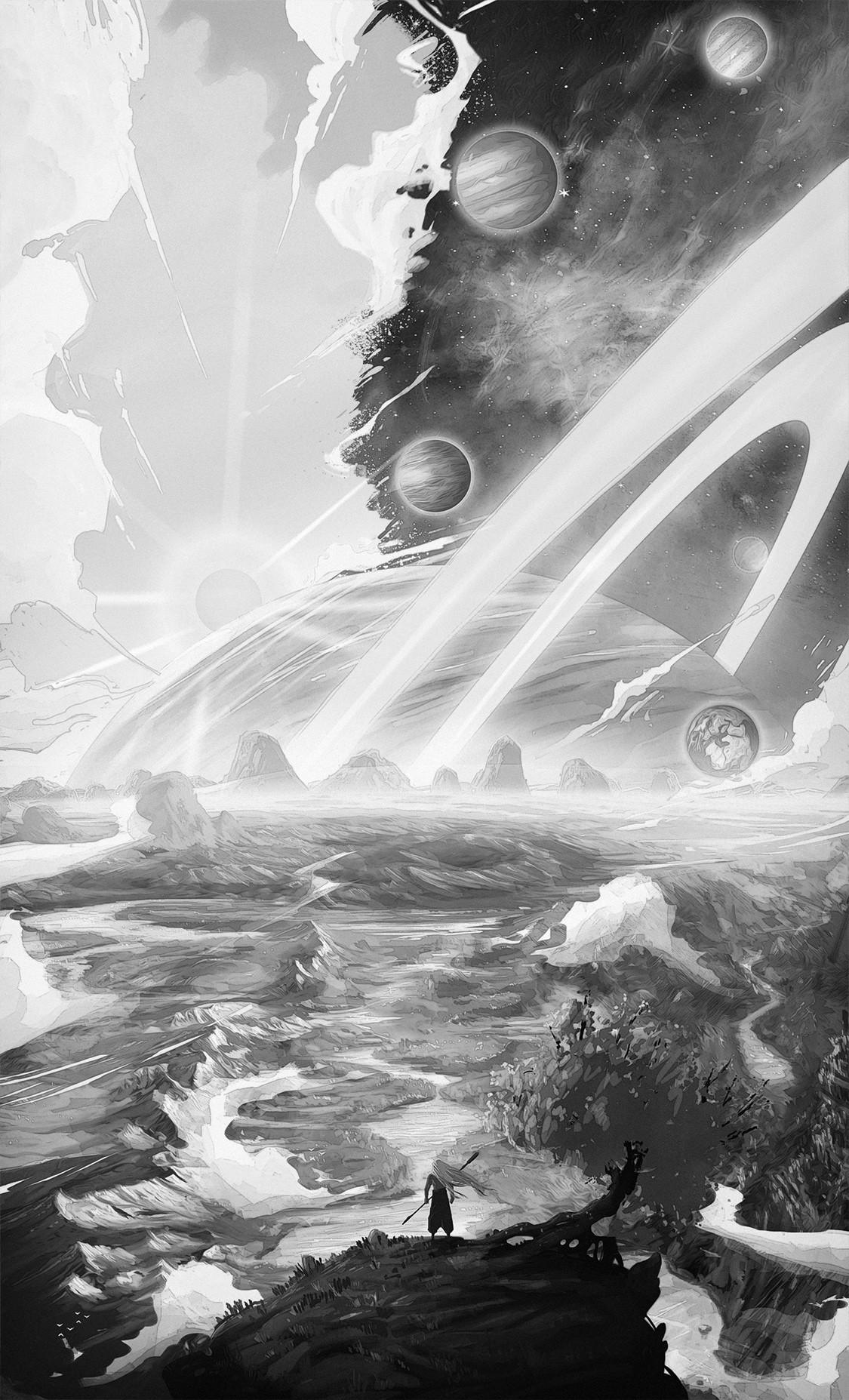 Christian benavides universe illustration sungmanitu f portfolio greyscale