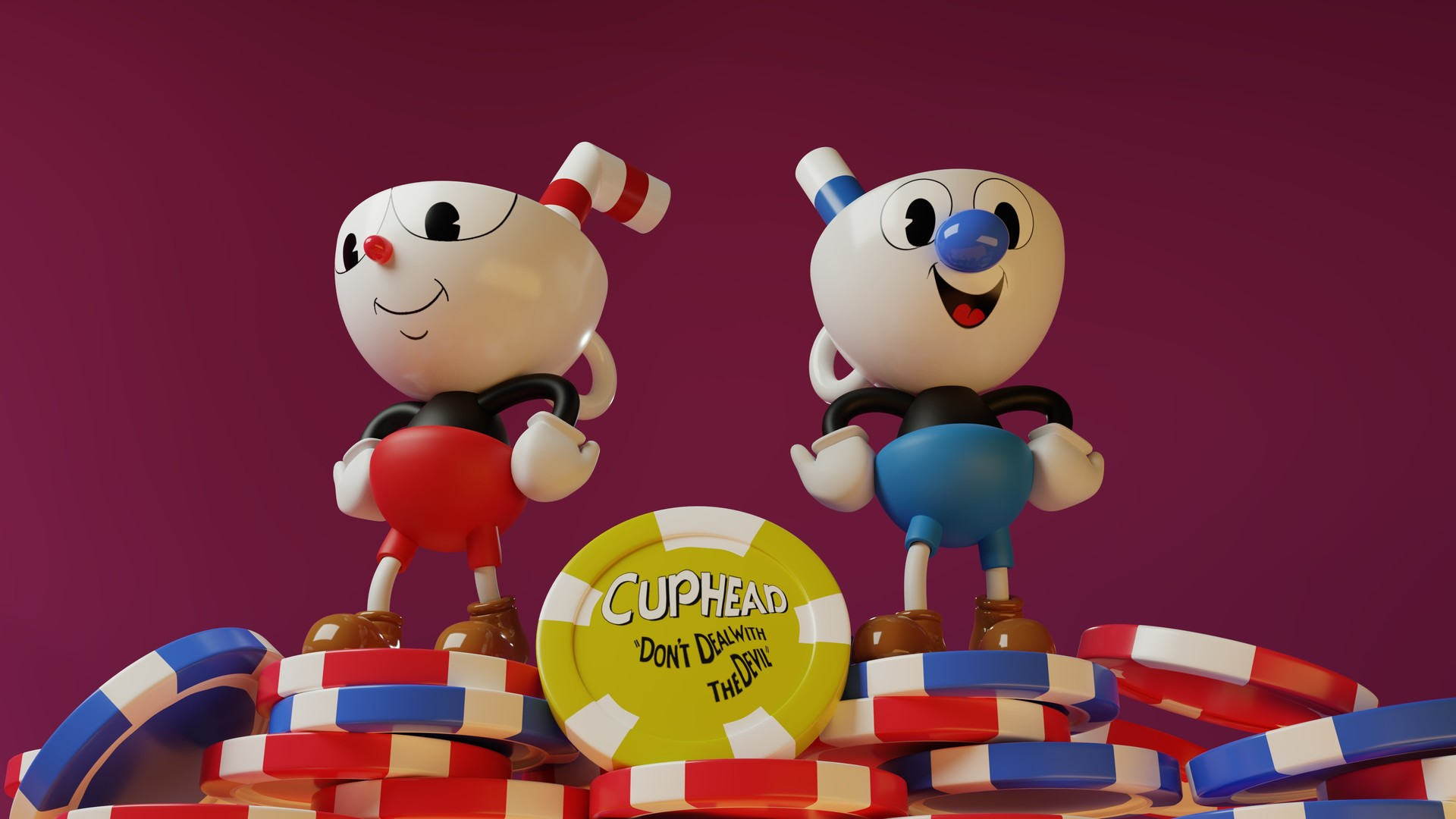 Artstation Cuphead And Mugman 3d Render Jelsyn Rivera