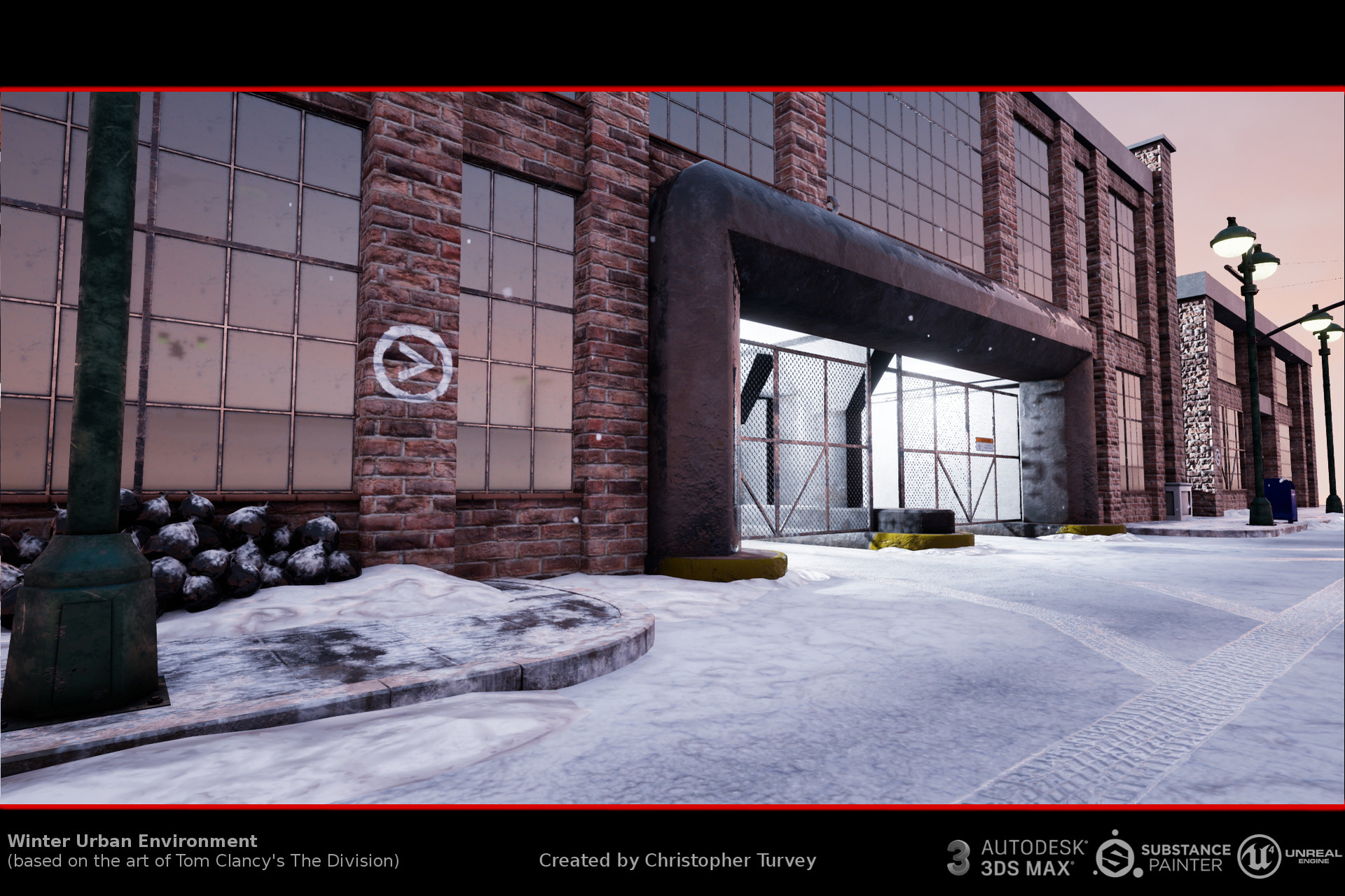 ArtStation - Winter urban environment at sunset (inspired by