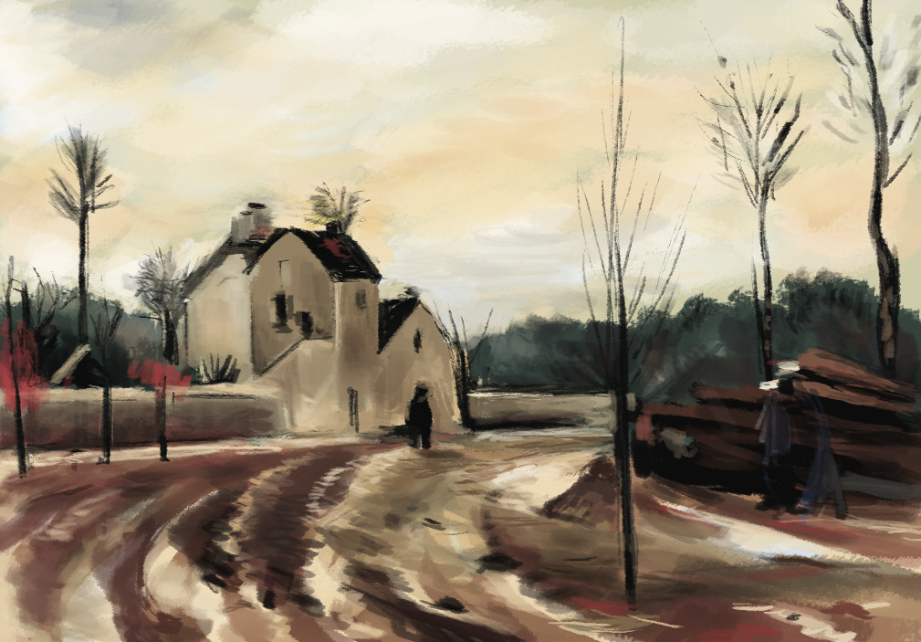 Study from a Pissaro's painting.